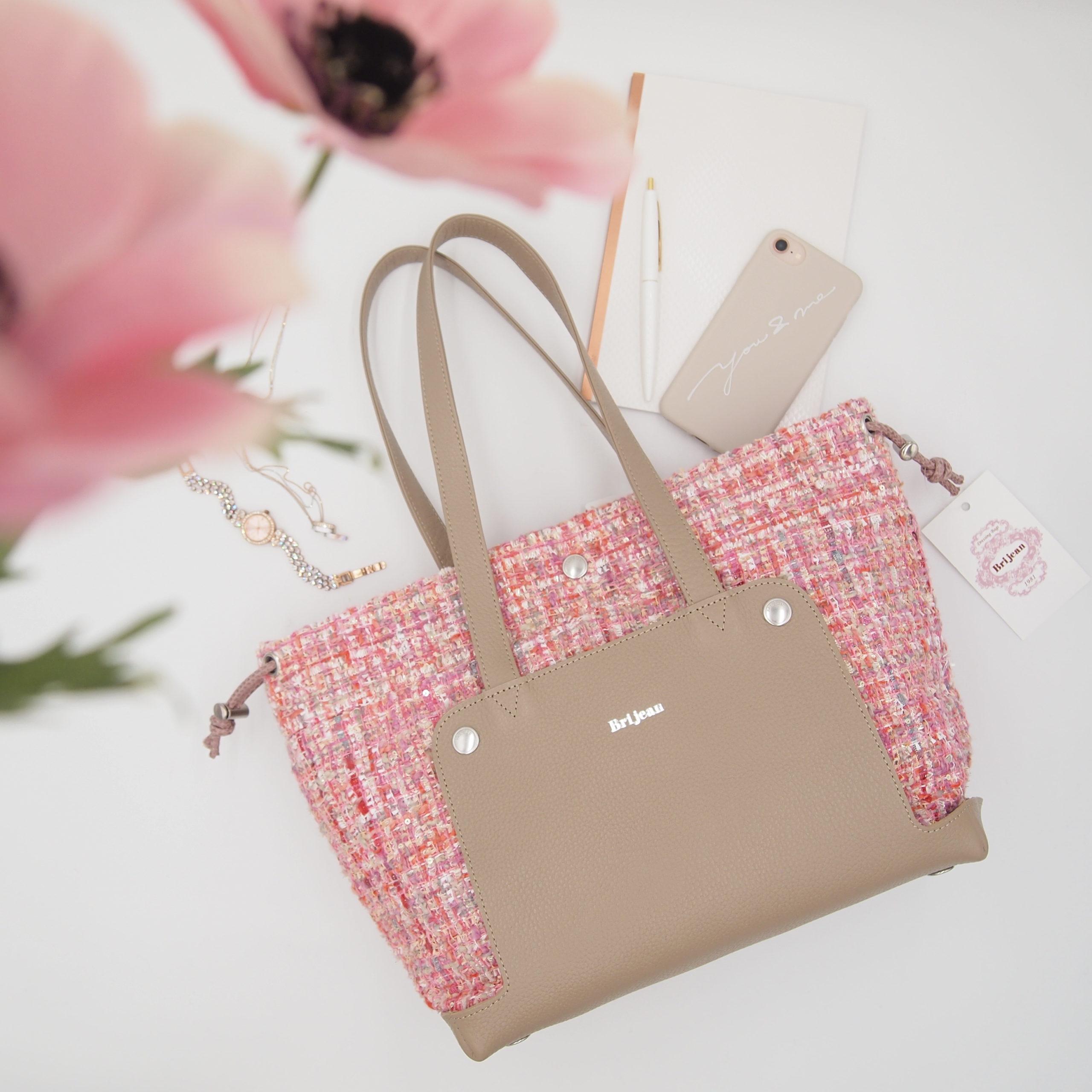 ピンクのツイード生地を使ったトートバッグ型着せ替えバッグ