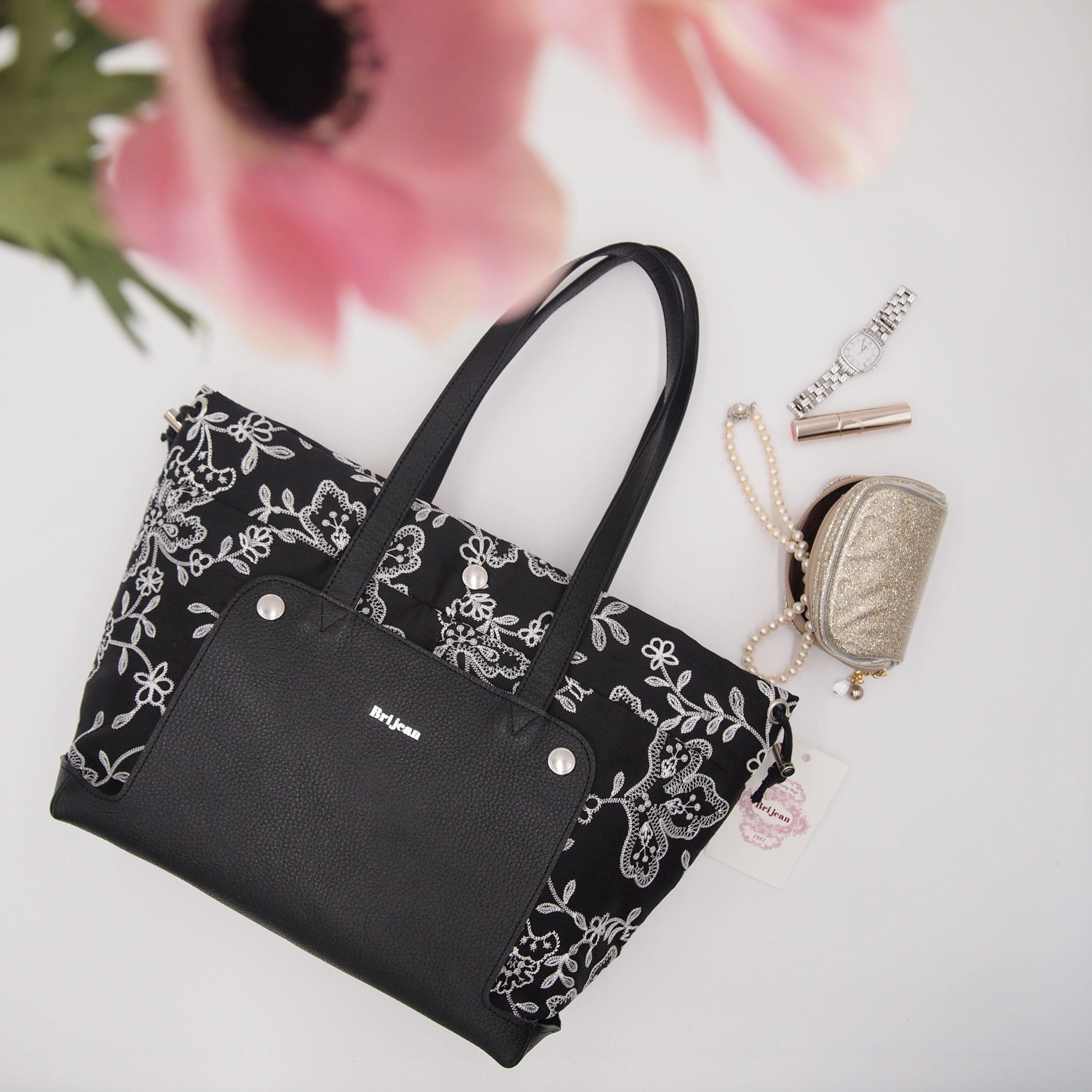 黒地の刺繍生地を使用したトートバッグ型きれいめ着せ替えバッグ